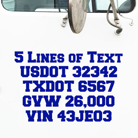 5 lines of text truck decal, usdot, mc, ca, gvw