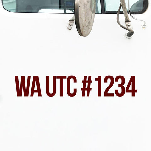 WA UTC Number Sticker Decal