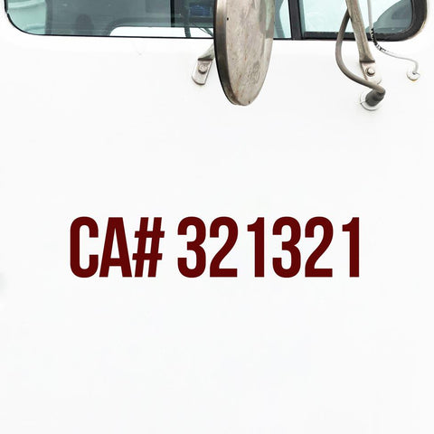 CA Number Decal Sticker (California)