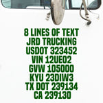 8 Lines of Text Truck Decals (USDOT)