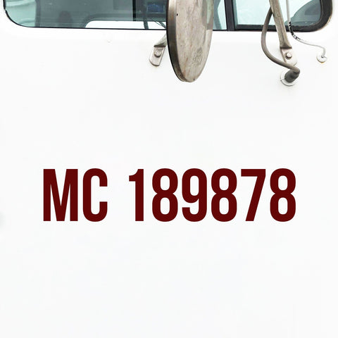 MC Number Decal Sticker for Trucks