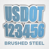 brushed steel usdot truck decal