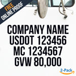 company name usdot mc gvw decal sticker online proof