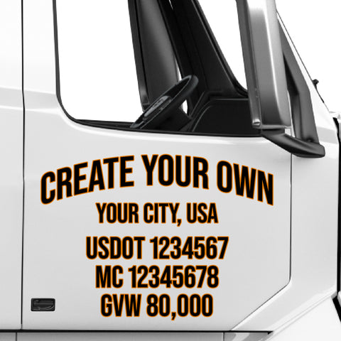 Create Your Own Truck Door Decal (Professional USDOT Lettering Stickers)