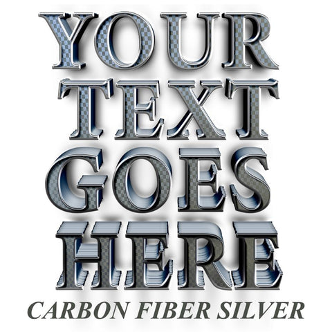your text goes here carbon fiber silver decal sticker