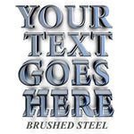 your text goes here brushed steel decal sticker