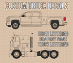 Company Name 2 Lines + 5 Location Or Regulation Numbers Truck Lettering Decal (USDOT, MC, GVW, CA), 2 Pack