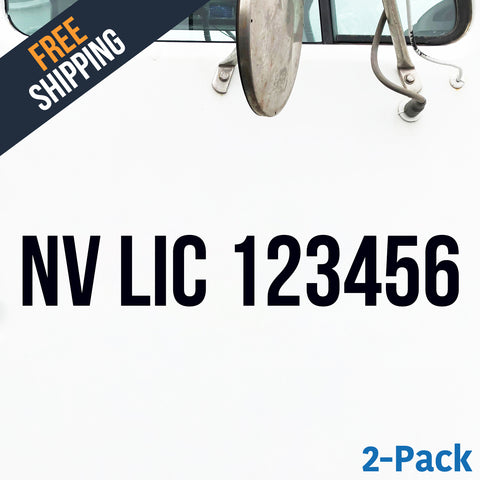 NV LIC number decal