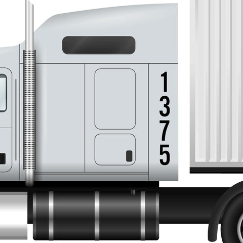 Vertical Number Truck Decal Sticker