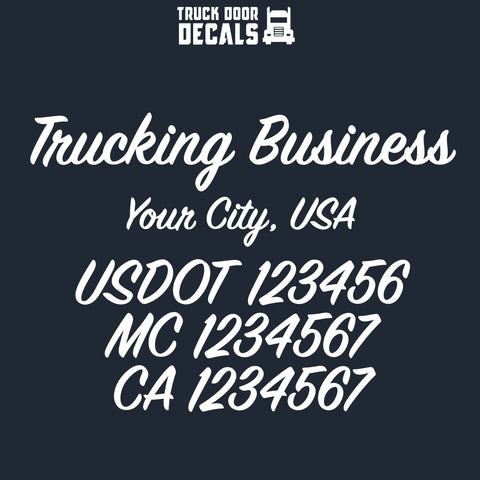 trucking business name, location, usdot, mc, ca decal sticker (semi truck door lettering)