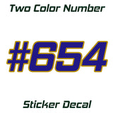 two color number sticker decal