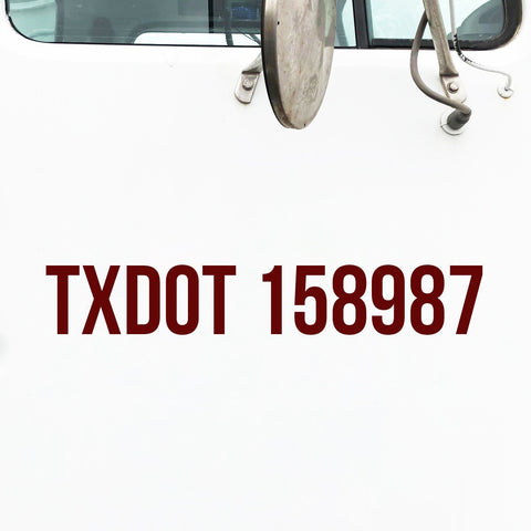 TX DOT Number Decal Sticker