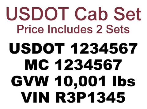 usdot cab set vinyl lettering decal sticker