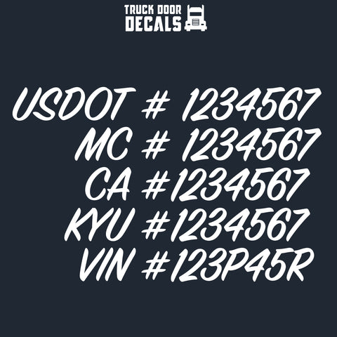 usdot mc ca kyu vin decal sticker
