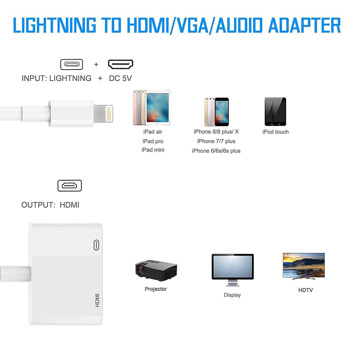 Lightning To HDMI Adapter Digital AV DV Adapter Compatible With iPhone and IPad