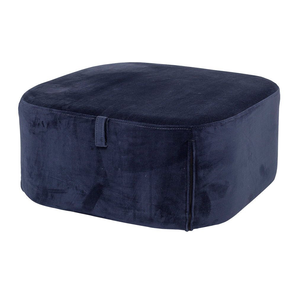 Pouf in Blue Velvet