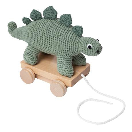 Crochet Pull-Along Toy, Dinosaur