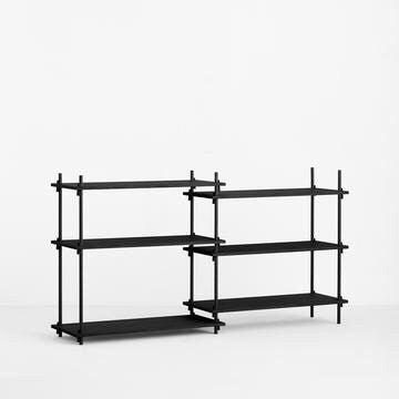 MOEBE SHELVING SYSTEM - LOW DOUBLE - BLACK