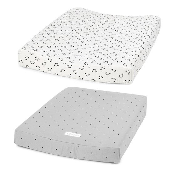 Coco changing mat cover 2 pack-Panda creme de la creme/classic dot dumbo grey