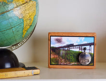 Load image into Gallery viewer, Keepsake Display Plaque with Mounted 1875 Medallion from the Iron Portageville, NY Trestle Bridge