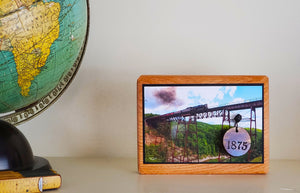 Keepsake Display Plaque with Mounted 1875 Medallion from the Iron Portageville, NY Trestle Bridge