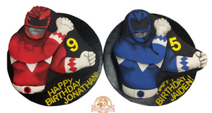 Birthday Cake Red and Blue Power Rangers - CakEffect Bakery