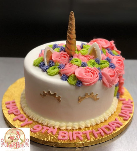 Pink Flowers and Unicorn Single Tower Cakes by Komeh