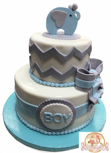 Modern Elephant Themed Baby Shower Cake - CakEffect Bakery