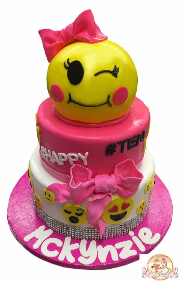 Birthday Cake Emojis in Pink - CakEffect Bakery