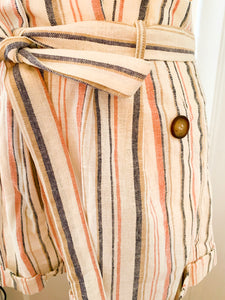 Blush Striped Linen Shorts
