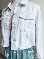 Load image into Gallery viewer, White Distressed Denim Jacket