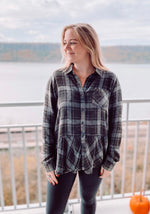 Load image into Gallery viewer, Midnight Peplum Flannel