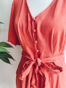 Paprika Button Down Romper