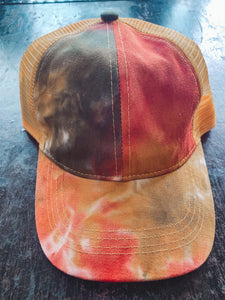 Tie Dye Hat in Rust