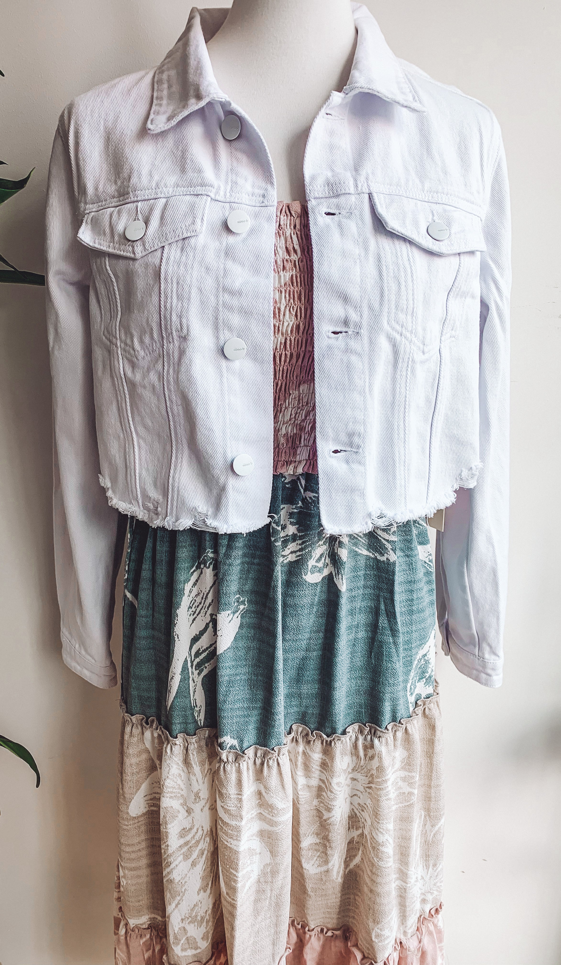 White Distressed Denim Jacket