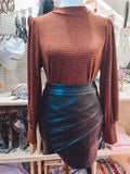 Black Leather Wrap Skirt