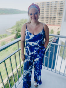 Deep Blue Tie Dye Jumpsuit