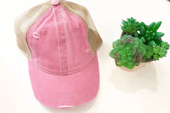 Distressed CC Baseball Cap in Pink