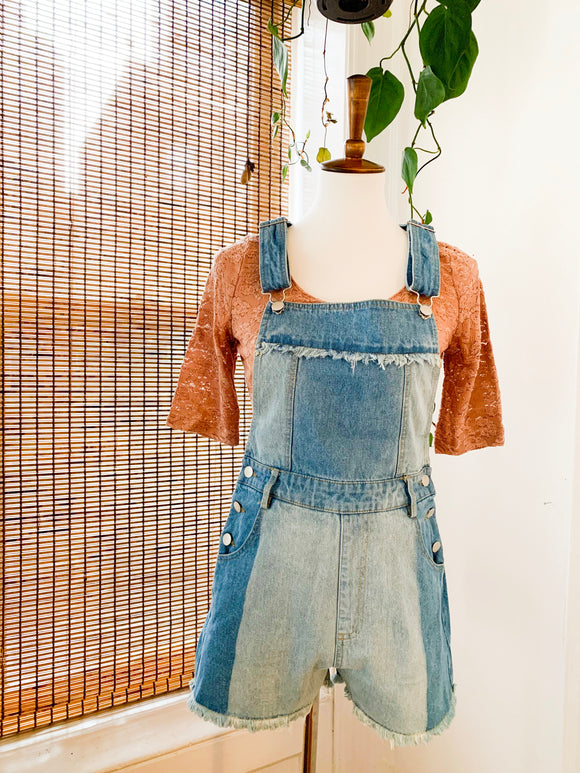 Two Toned Fringe Denim Overalls