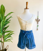 Load image into Gallery viewer, Denim Paper Bag Waist Shorts
