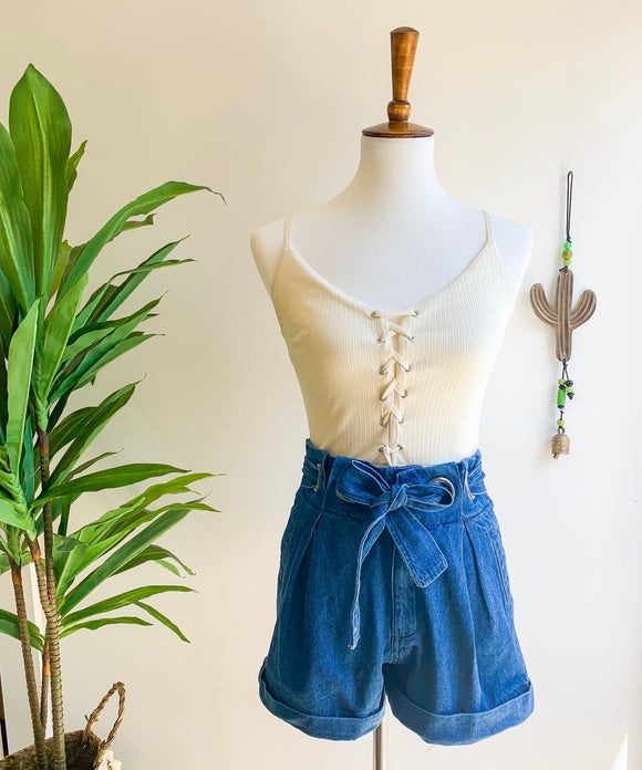 Denim Paper Bag Waist Shorts