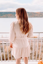 Load image into Gallery viewer, Winter White Belted Dress