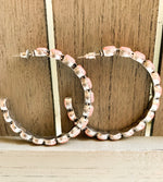 Load image into Gallery viewer, Stone Studded Hoops in Coral