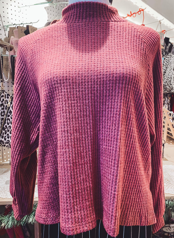 Plum Mock Neck Top