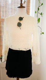 Load image into Gallery viewer, White Crochet Bodysuit