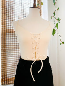 Cream Ribbed Lace Up Bodysuit
