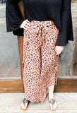 Leopard Print Wide Leg Slit Pants