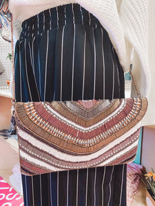 Neutral Stripe Sequin Bag