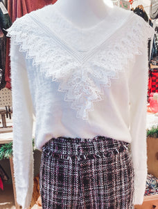 White Lacey Sweater