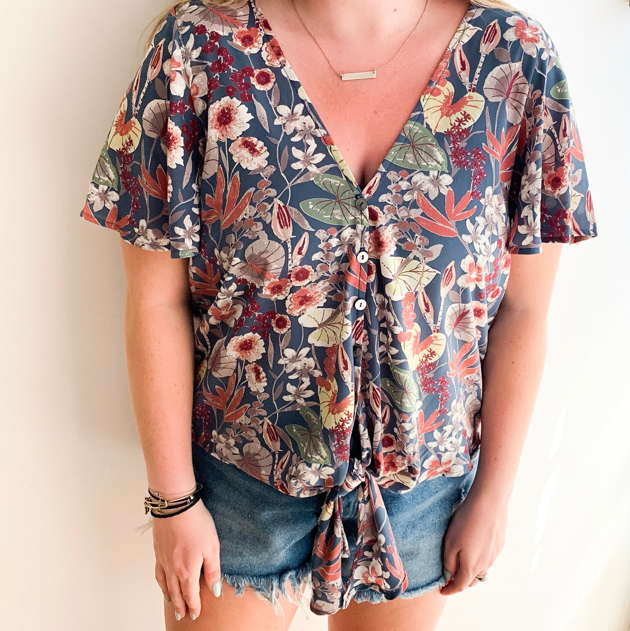 Botanical Button Down Top